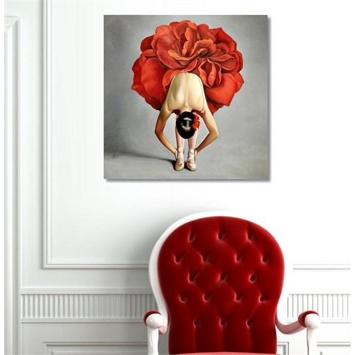 Tictac Kırmızılı Balerin Kanvas Tablo - 50X50 Cm