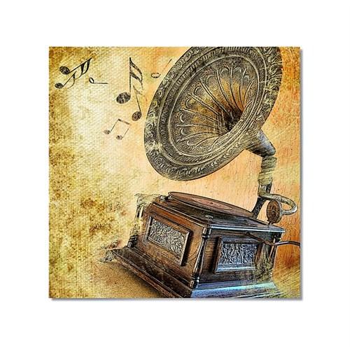Tictac Gramafon Kanvas Tablo - 70X70 Cm