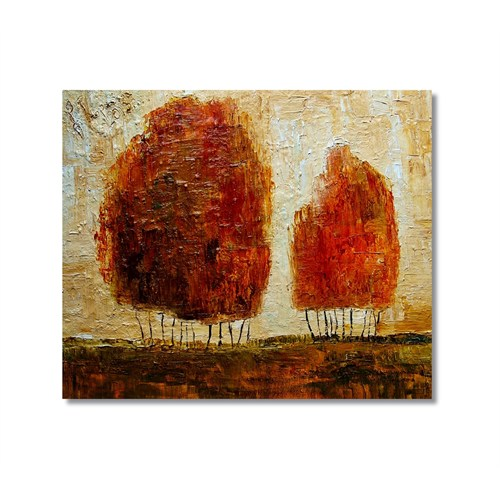 Tictac Kırmızı Ağaçlar Kanvas Tablo - 50X50 Cm
