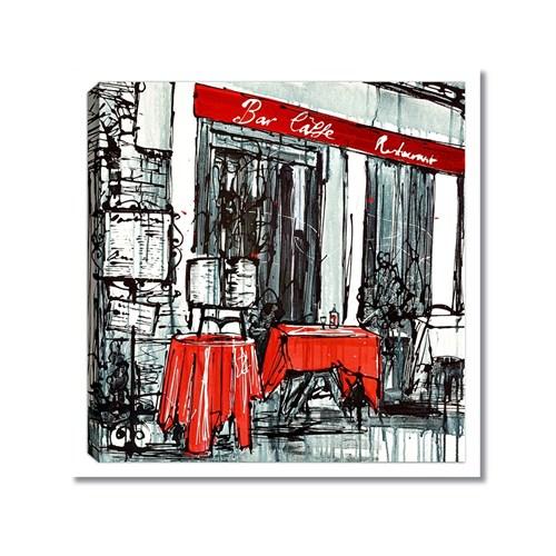 Tictac Kırmızı Masalı Cafe Kanvas Tablo - 60X60 Cm