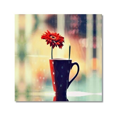 Tictac Vazodaki Çiçek Kanvas Tablo - 60X60 Cm
