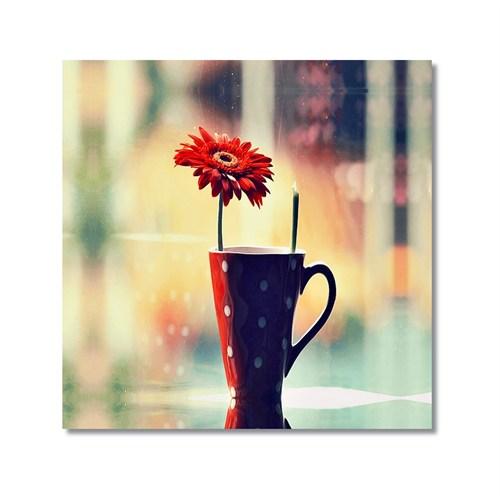 Tictac Vazodaki Çiçek Kanvas Tablo - 50X50 Cm