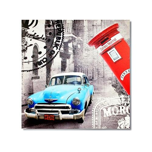 Tictac Küba Ve Mavi Araba Kanvas Tablo - 60X60 Cm