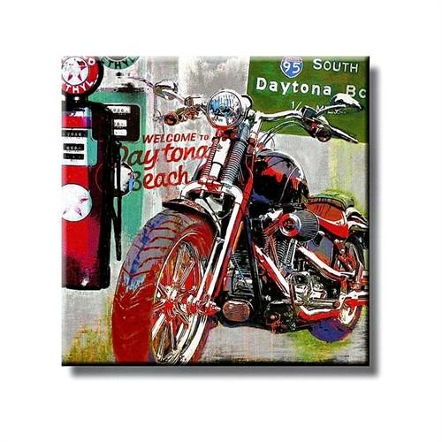 Tictac Siyah Motorsiklet Kanvas Tablo - 50X50 Cm