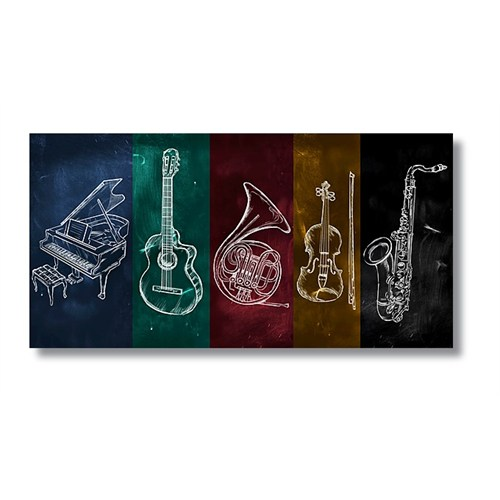 Tictac Jazz Müzik Kanvas Tablo - 40X80 Cm - 40X80 Cm