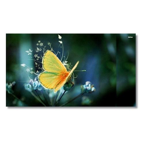 Tictac Sarı Kelebek Kanvas Tablo - 40X80 Cm
