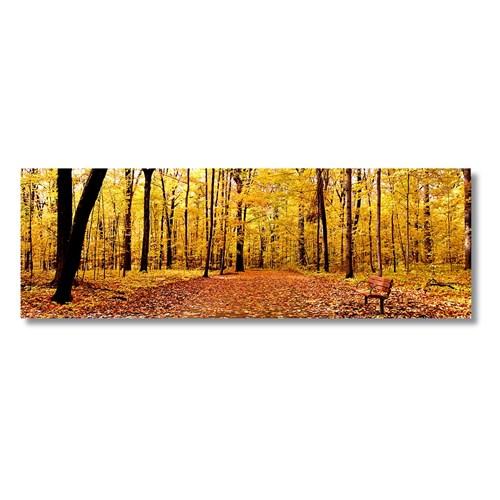 Tictac Sarı Yapraklı Ağaçlar Kanvas Tablo - 40X120 Cm