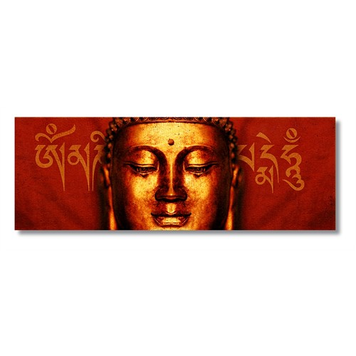 Tictac Altın Buda Kanvas Tablo - 40X120 Cm