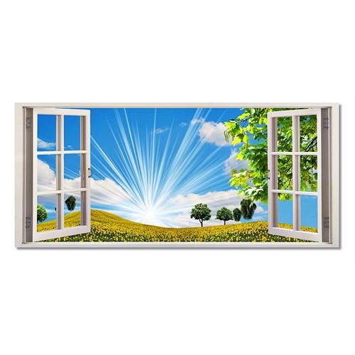 Tictac Pencere Ve Doğa Kanvas Tablo - 40X120 Cm