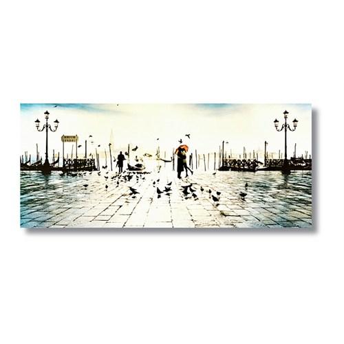 Tictac Venedik'te Aşk Kanvas Tablo - 30X90 Cm
