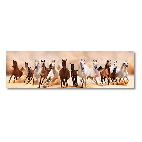 Tictac Koşan Atlar Kanvas Tablo - 30X120 Cm