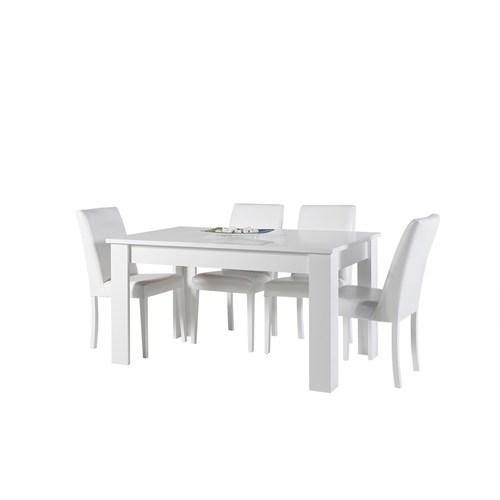Ebg Concept Safir Yandan Açılır Masa Takımı 6 Sandalyeli Beyaz