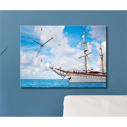 Tabloshop - Gemi Canvas Tablo Saat - 45X30cm