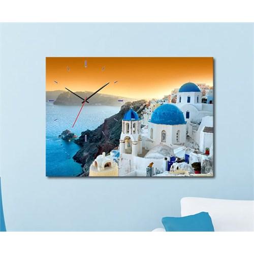 Tabloshop - Santorini Canvas Tablo Saat - 45X30cm