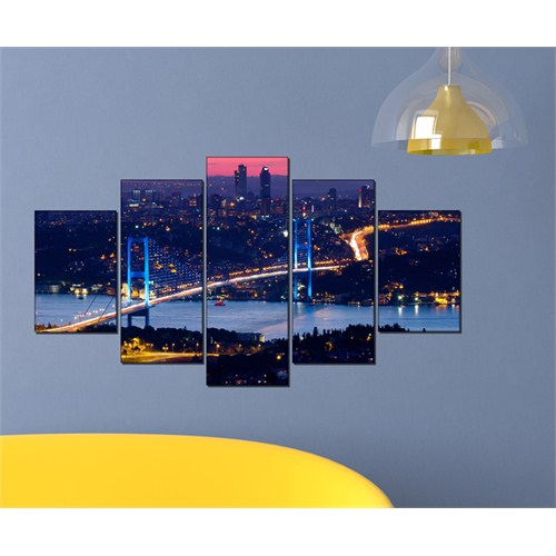 Tabloshop - Kp-12 5 Parçalı Canvas Tablo - 123X56cm