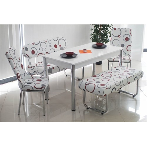 Teknoset Bank Takımı Banklı Mutfak Masa Takımı Yemek Masası - Kırmızı Halka Desenli