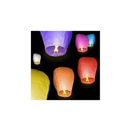 Toptansüs Dilek Feneri Uçan Çin Balonu Beyaz 10'Lu
