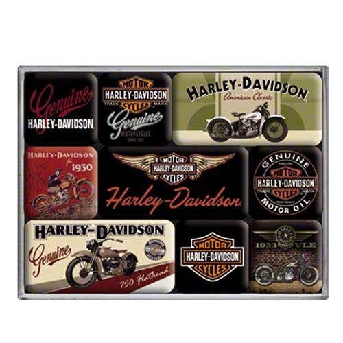 Nostalgic Art Harley Davidson Bikes Magnet Set (9 Parça)