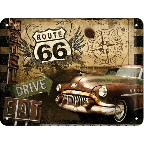 Nostalgic Art Route 66 Road Trip Metal Kabart Malı Pin Up Duvar Panosu (15 X 20 Cm)