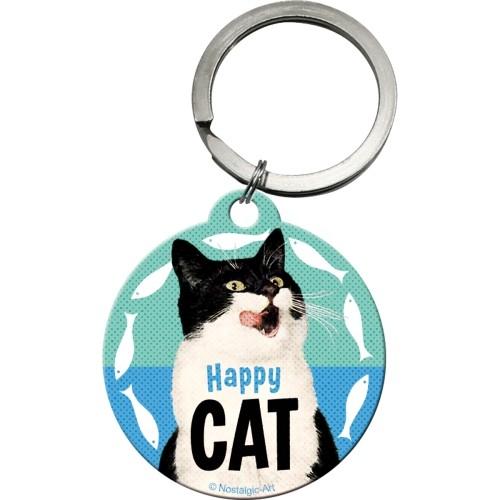 Nostalgic Art Happy Cat Yuvarlak Anahtarlık (4 Cm)