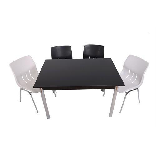 Mavi Mobilya Plastik Masa Takımı Prst003 4 Plastik Sandalyeli Siyah Beyaz