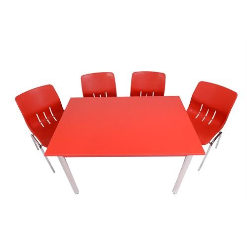 Mavi Mobilya Plastik Masa Takımı Prst006 4 Plastik Sandalyeli Kırmızı