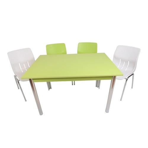 Mavi Mobilya Plastik Masa Takımı Prst007 4 Plastik Sandalyeli Yeşil Beyaz