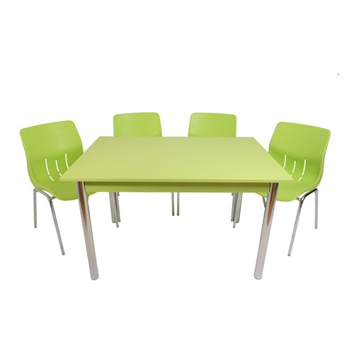 Mavi Mobilya Plastik Masa Takımı Prst008 4 Plastik Sandalyeli Yeşil