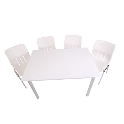 Mavi Mobilya Plastik Masa Takımı Prst010 4 Plastik Sandalyeli Beyaz