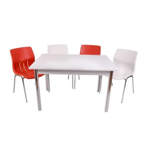 Mavi Mobilya Plastik Masa Takımı Prst011 4 Plastik Sandalyeli Kırmızı Beyaz