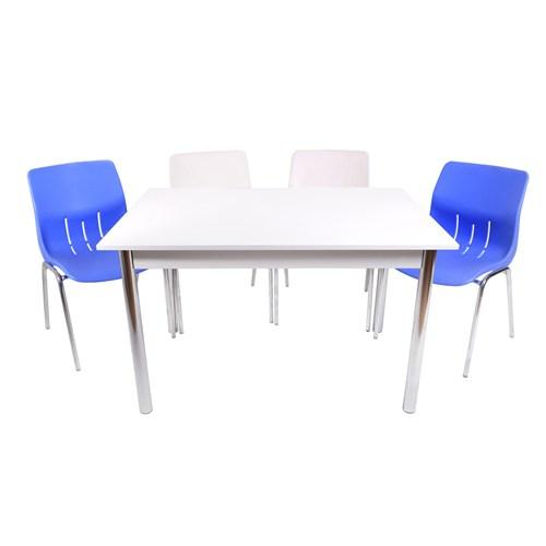 Mavi Mobilya Plastik Masa Takımı Prst012 4 Plastik Sandalyeli Mavi Beyaz
