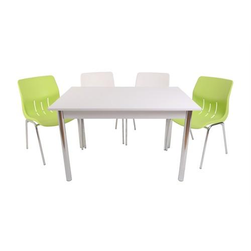 Mavi Mobilya Plastik Masa Takımı Prst014 4 Plastik Sandalyeli Yeşil Beyaz