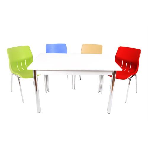 Mavi Mobilya Plastik Masa Takımı Prst015 4 Plastik Sandalyeli Çok Renkli