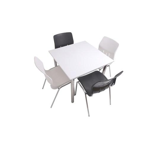 Mavi Mobilya Plastik Masa Takımı Prst026 4 Plastik Sandalyeli Siyah Beyaz