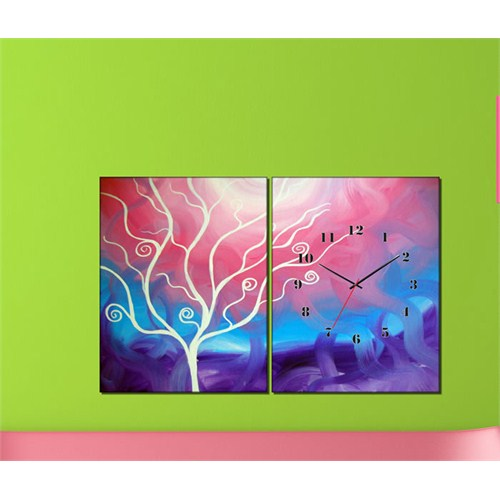 Tabloshop - Dreams 2 Parçalı Canvas Tablo Saat - 63X40cm