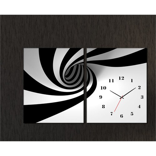 Tabloshop - Vortex 2 Parçalı Canvas Tablo Saat - 63X40cm