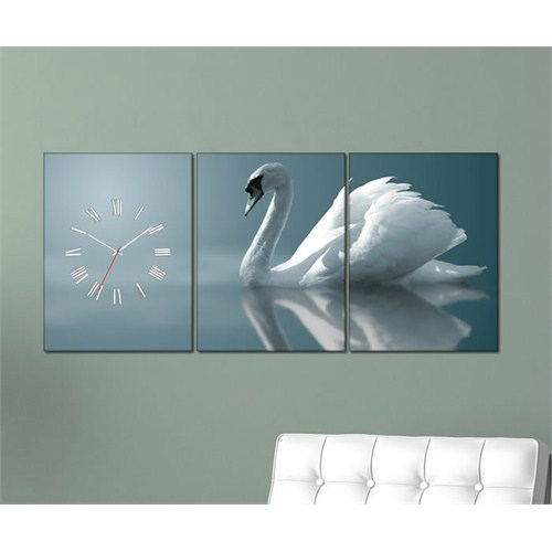 Tabloshop - Swan 3 Parçalı Canvas Tablo Saat - 96X40cm