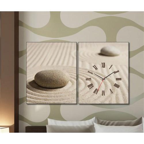 Tabloshop - Sand 2 Parçalı Canvas Tablo Saat - 63X40cm