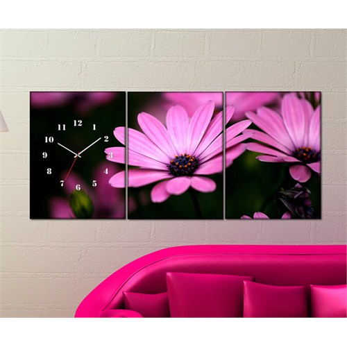 Tabloshop - Pink Flowers 3 Parçalı Canvas Tablo Saat - 96X40cm