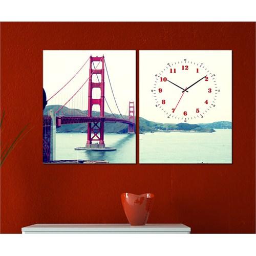 Tabloshop - Golden Gate 2 Parçalı Canvas Tablo Saat - 63X40cm