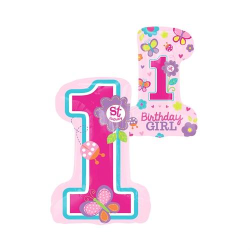 KullanAtMarket Tatlı 1 Yaş Kız Super Shape Folyo Balon 48 Cm X 71 Cm 1 Adet