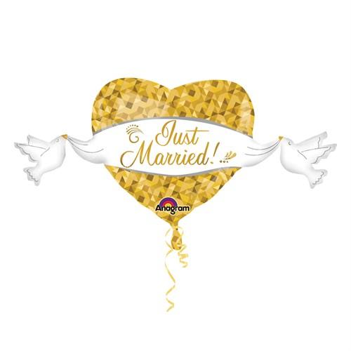 KullanAtMarket Just Married Super Shape Kalp Folyo Balon 104 Cm X 53 Cm 1 Adet