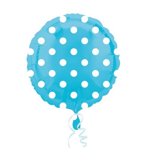 KullanAtMarket Bebek Mavisi Puantiyeli Folyo Balon 43 Cm 1 Adet