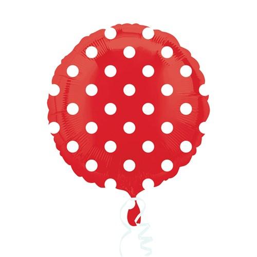 KullanAtMarket Kırmızı Puantiyeli Folyo Balon 43 Cm 1 Adet