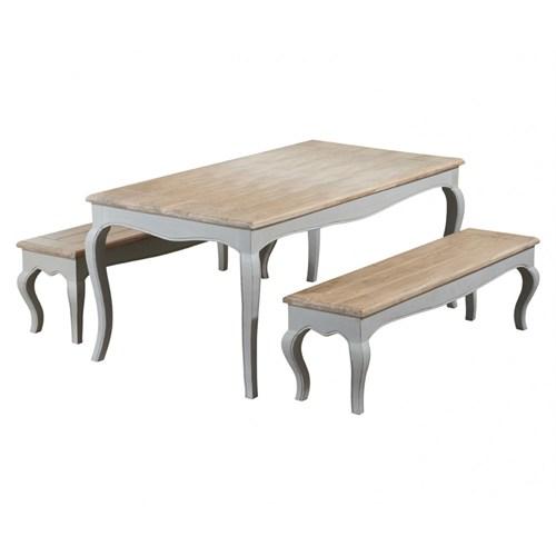 Woodenbend Lyon Gri Masif Masa 80*175 2 Adet Bench