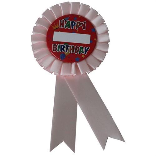 Pandoli Happy Birthday Yazılı İsme Özel Rozet Pembe