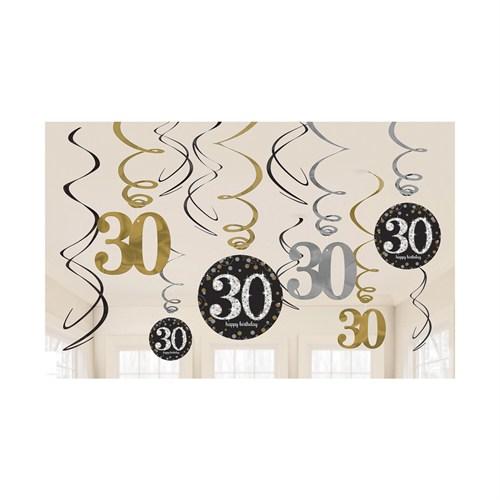 KullanAtMarket Işıltılı Doğumgünü 30 Yaş Süs Dalgası 12 Adet