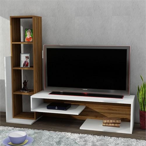 Dekorister Bend Tv Ünitesi Beyaz/Ceviz
