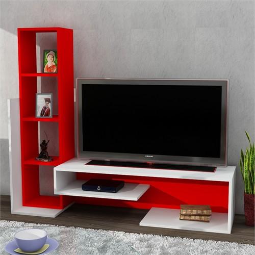 Dekorister Bend Tv Ünitesi Beyaz/Kırmızı