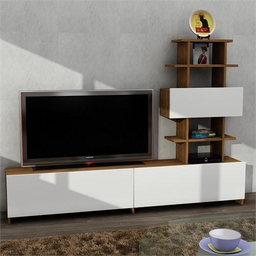 Dekorister Doris Tv Ünitesi Beyaz-Ceviz